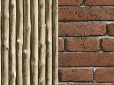 Timber and Brick Wallpaper