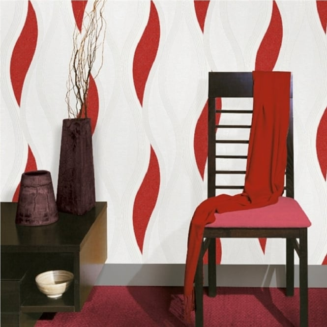 Red wallpaper in the living room makes for a vibrant ambiance