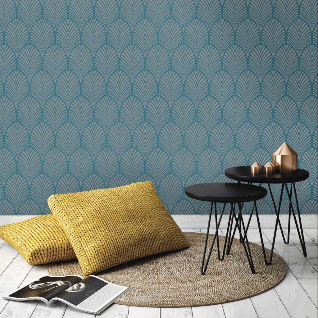 Holden Decor Gatsby Teal Wallpaper in an on-trend geometric style
