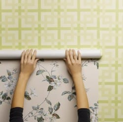 Woman wallpapering wall, close-up