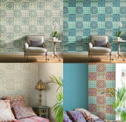 Grandeco Moroccan Tile Flower Wallpaper