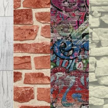 Wood, Brick, Graffiti, and Sandstone Faux-Effect Wallpaper