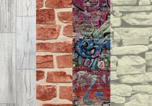 Wood, Brick, Graffiti, and Sandstone Faux-Effect Wallpaper
