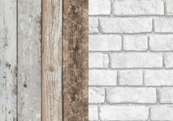 Wood and Brick Faux-Effect Wallpaper