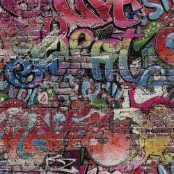 Graffiti motif industrial wallpaper