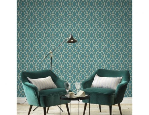Colour matching blue wallpaper with accessories and furniture