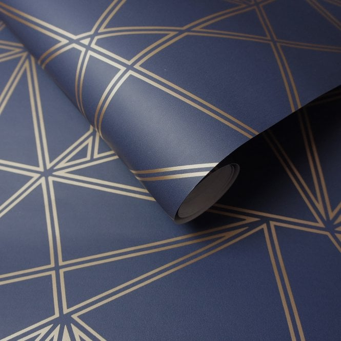Navy blue wallpaper looks great with metallics