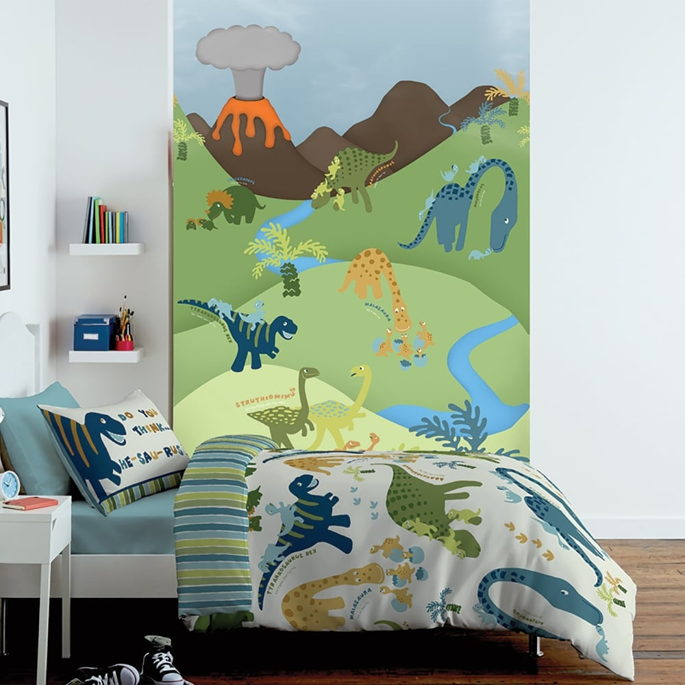1 wall cartoon dinosaur childrens mural kids wall art for Childrens mural wallpaper