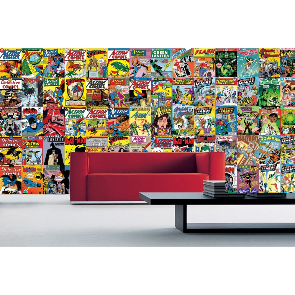 1 wall comics dc batman superman 64 piece creative collage for Batman mural wallpaper uk