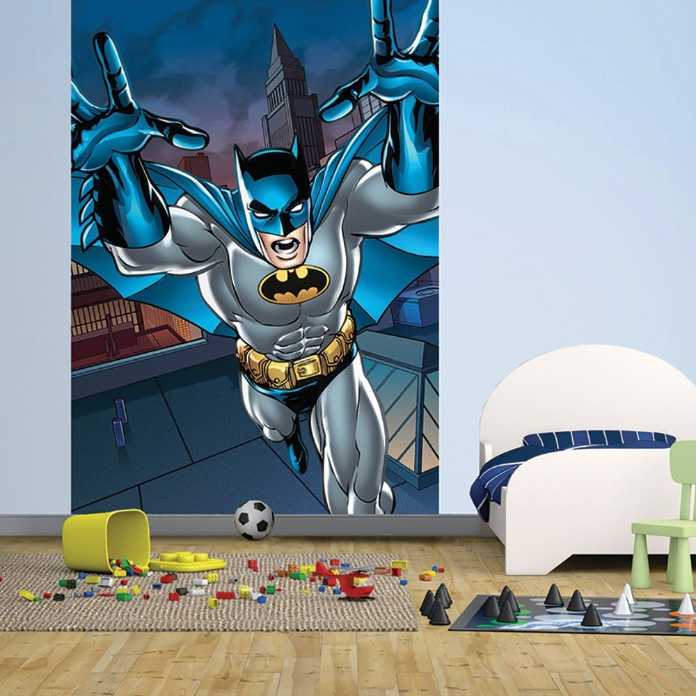 1 wall easy hang wallpaper mural batman portrait comic 1 for Batman wall mural