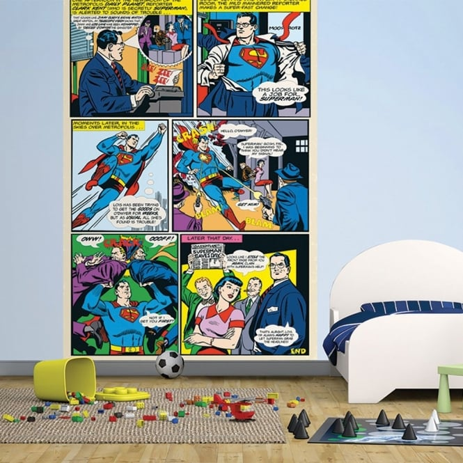 1 Wall Easy-Hang Wallpaper Mural Superman DC Comic Panel 1.58m X 2.32m