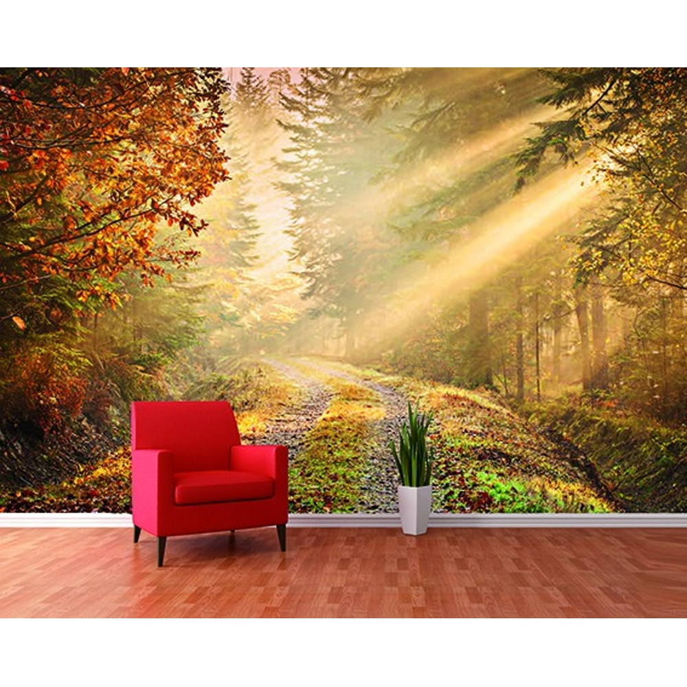 1 wall forest path sun beam giant wallpaper mural w8p for Mural wallpaper