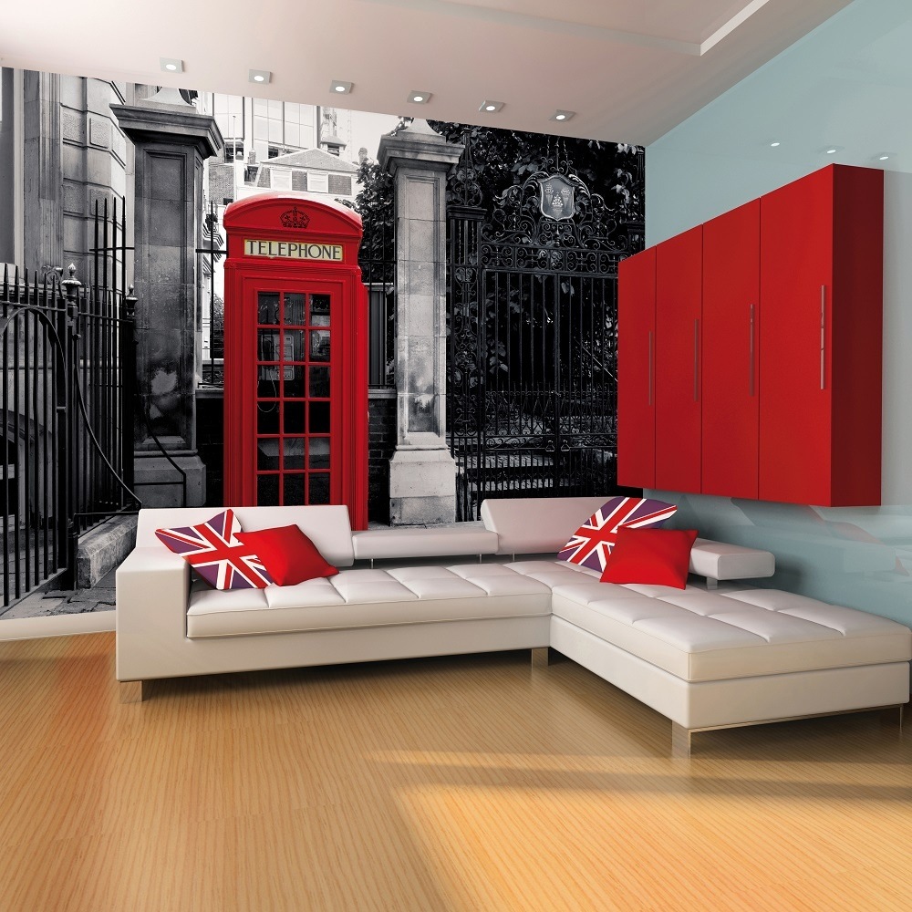 1 wall giant wallpaper mural london telephone phone box 3 for Black and white london mural wallpaper