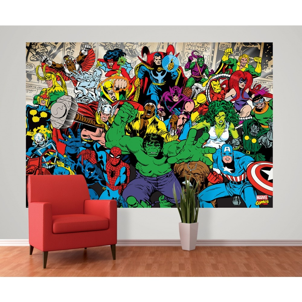 1 wall marvel avengers hulk ironman wallpaper mural for Creation mural kids