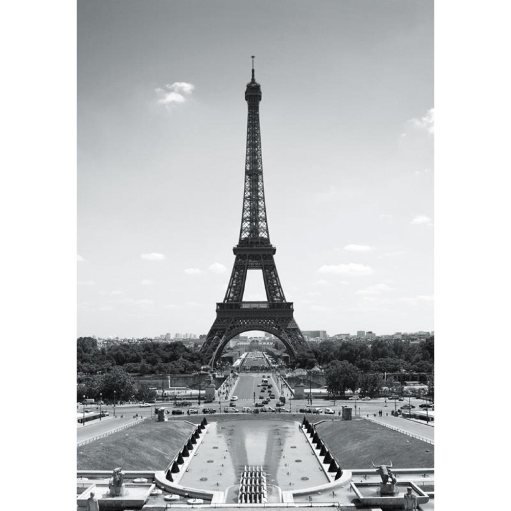 1 wall paris eiffel tower wallpaper mural x for Eiffel tower wall mural black and white