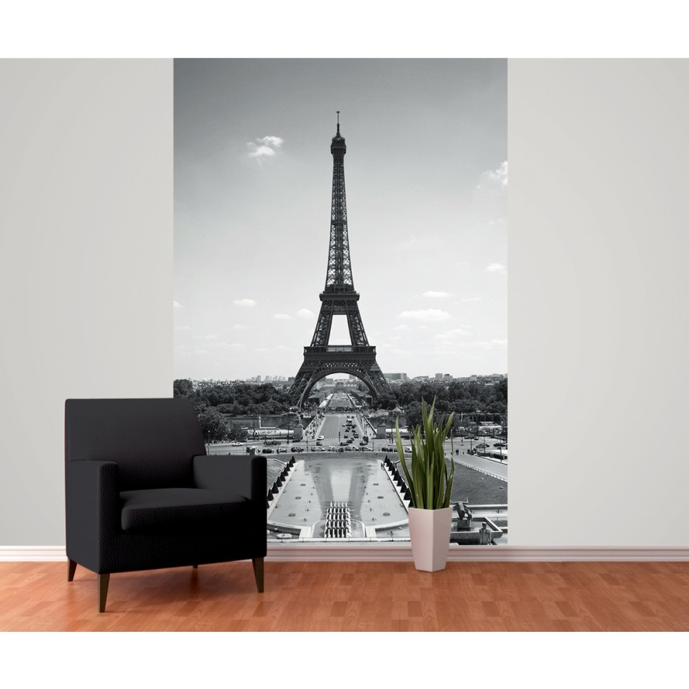 1 wall paris eiffel tower wallpaper mural x for Eiffel tower mural black and white