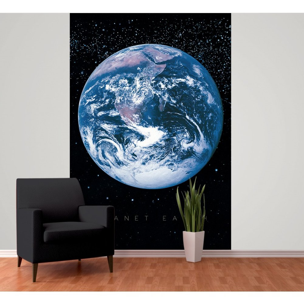 1 wall planet earth space globe wallpaper mural x for Earth rising wall mural