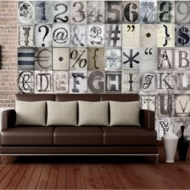 1 Wall Typography Letters 64 Piece Creative Collage Wall Art C64P-TYPO-001