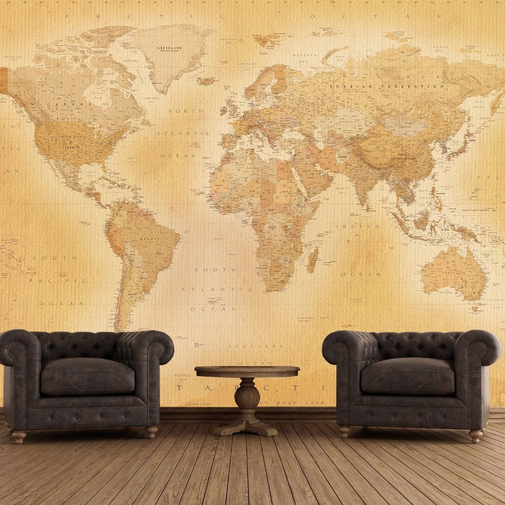 1 wall giant wallpaper mural old map of the world x for Mural wallpaper vintage