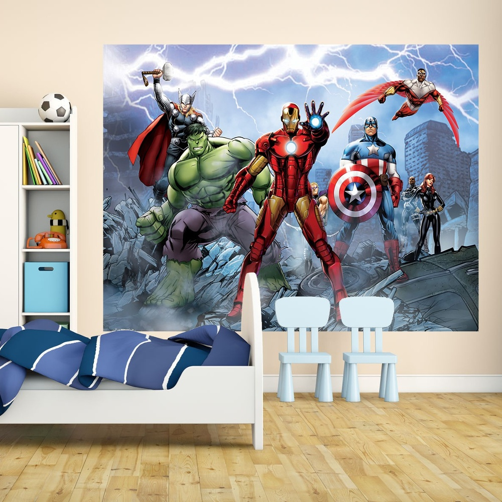 1 wall wallpaper mural marvel avengers iron man thor hulk for Avengers wall mural uk