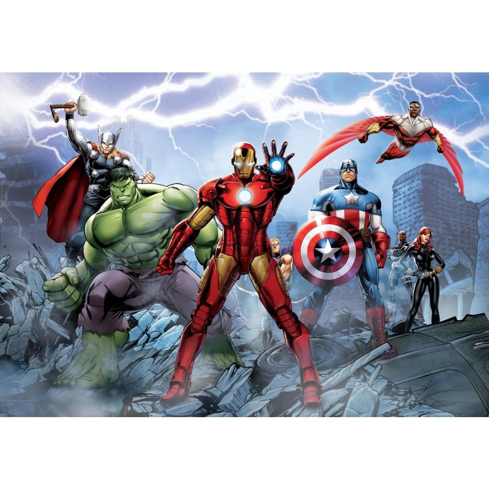 1 wall wallpaper mural marvel avengers iron man thor hulk for Avengers wall mural