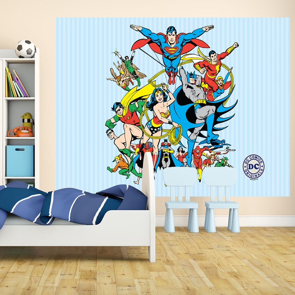 1 wall wallpaper mural superman batman justice league 1 for Comic book wallpaper mural