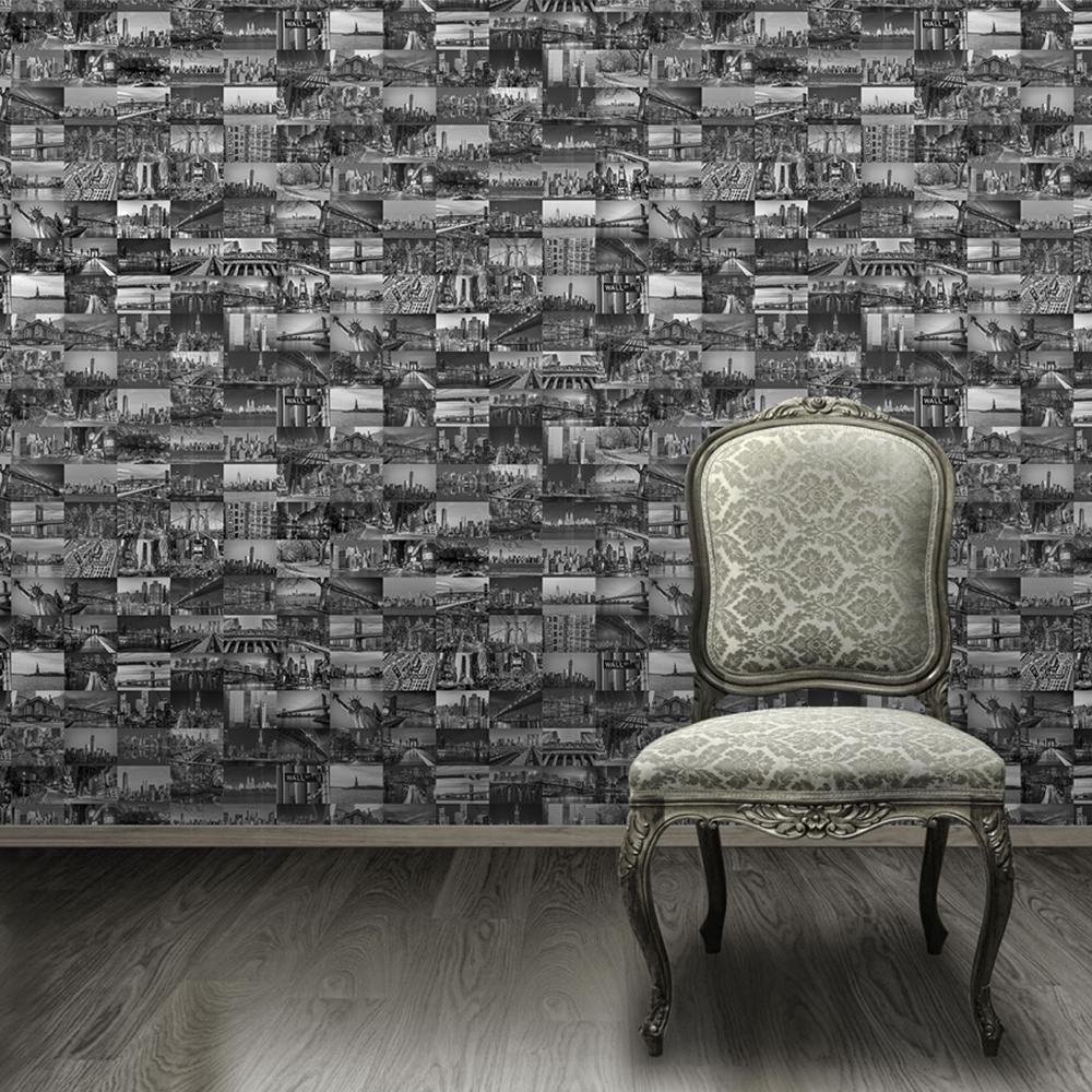 1 Wall Big Apple Photo Collage Pattern New York Nyc Wallpaper