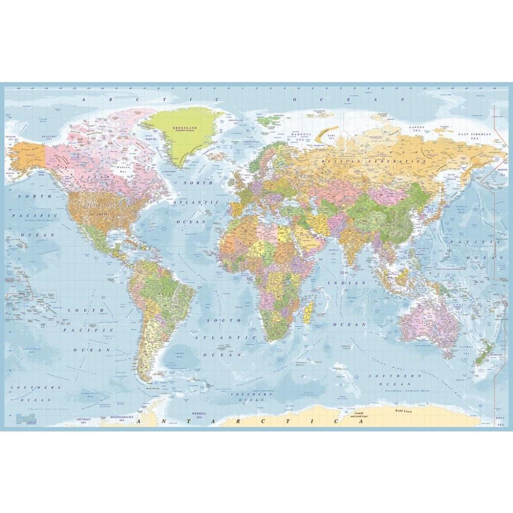 1 Wall 1 Wall Blue World Map Atlas Wallpaper Mural 1.58m x 2.32m  W2PL-BLUEMAP-007