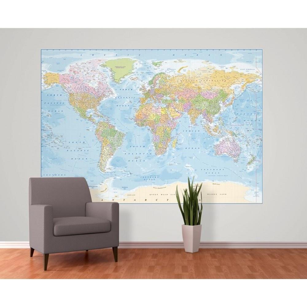 Full Wall World Map.1 Wall Blue World Map Atlas Wallpaper Mural 1 58m X 2 32m W2pl