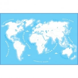 1 Wall Colour In World Map Wallpaper Mural 1.58m x 2.32m