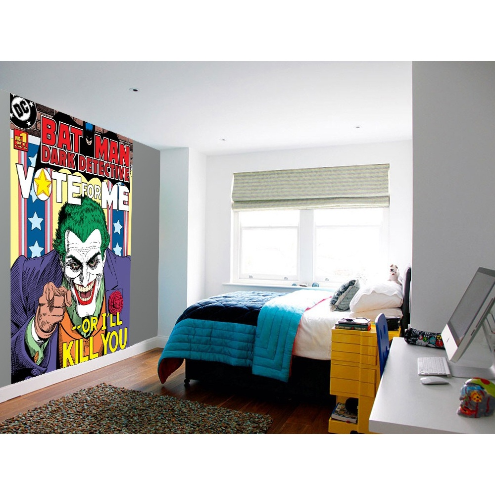 1 wall easy hang wallpaper mural joker batman comic for Batman mural wallpaper uk