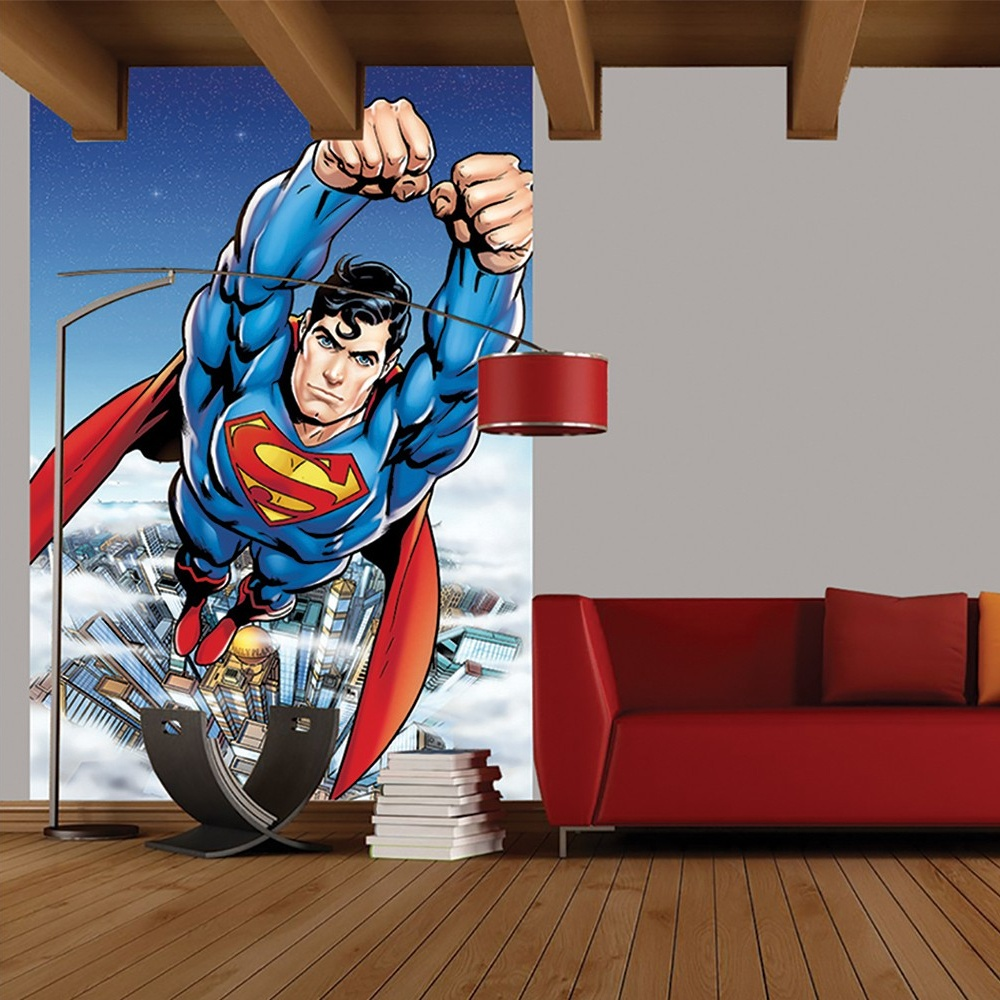 wall easy hang wallpaper mural superman portrait comic 1 58m x 2 32m 1 wall easy hang wallpaper mural superman portrait comic 1 58m x 2 32m