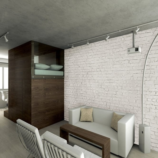 1 Wall Loft White Brick Effect Giant Wallpaper Mural