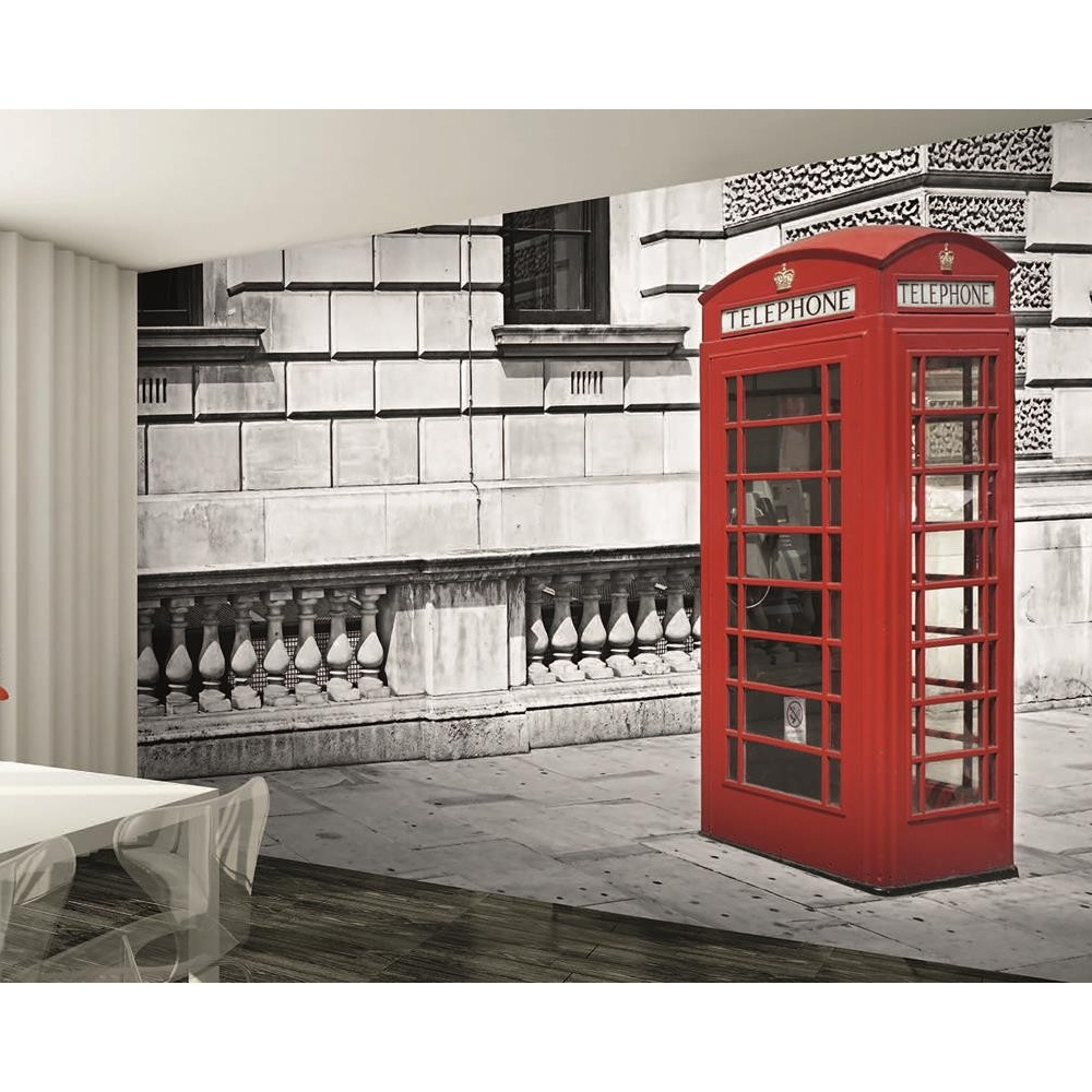 1 wall london red phone box giant wallpaper mural w8p for Black and white london mural wallpaper