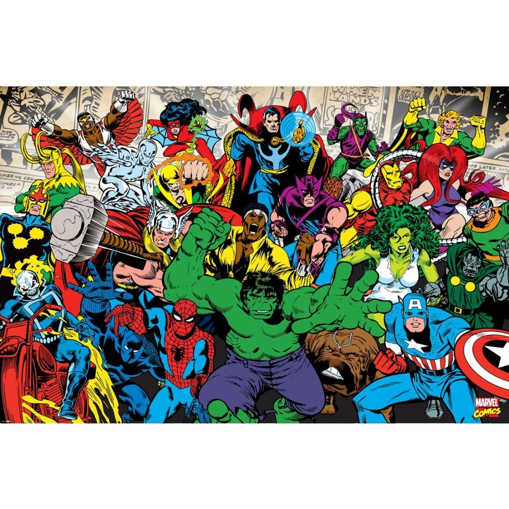 Marvel Avengers Hulk Ironman Spiderman Photo Wallpaper Mural 1.58m x 2.32m