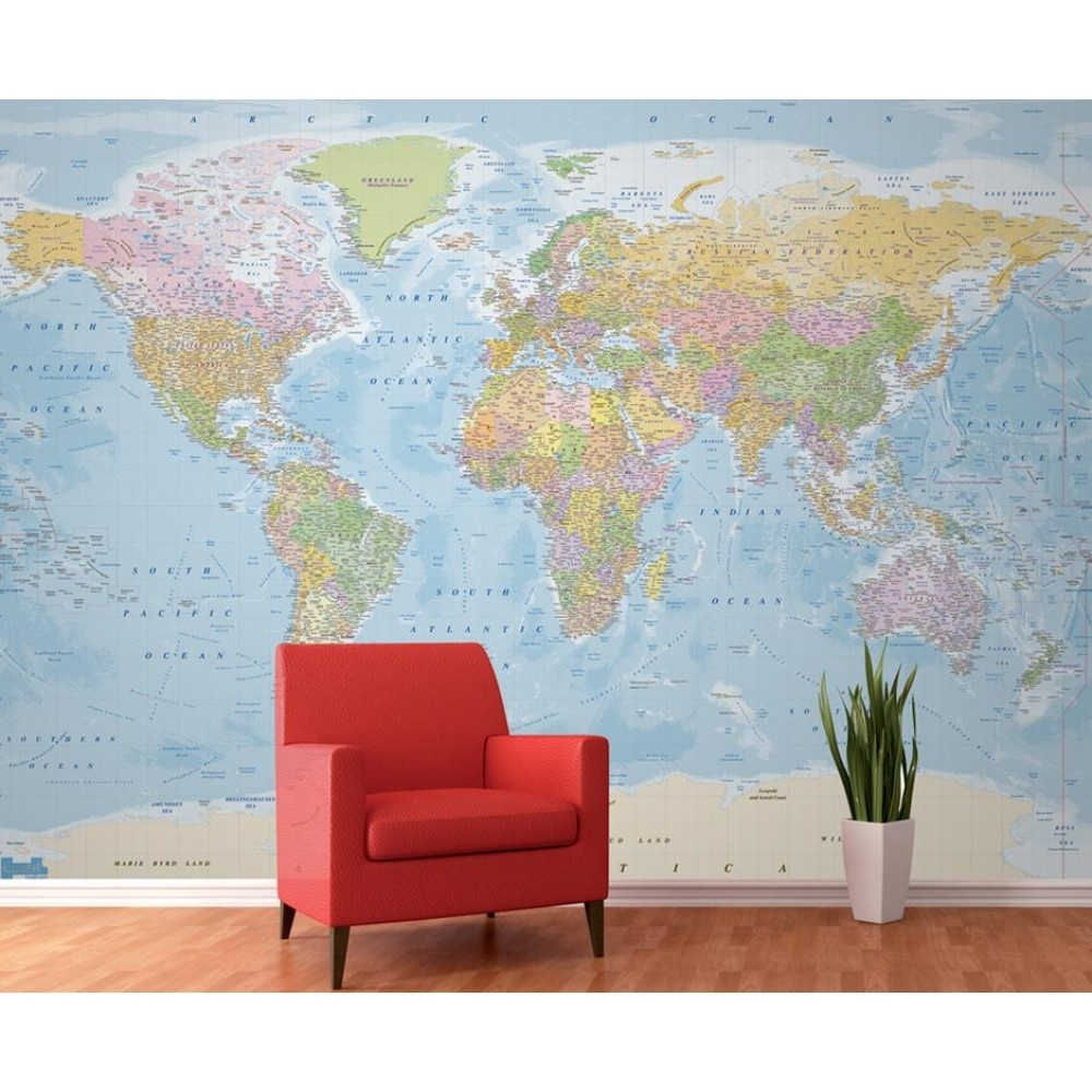 1 Wall Multi Coloured Atlas Map Photo Giant Poster X