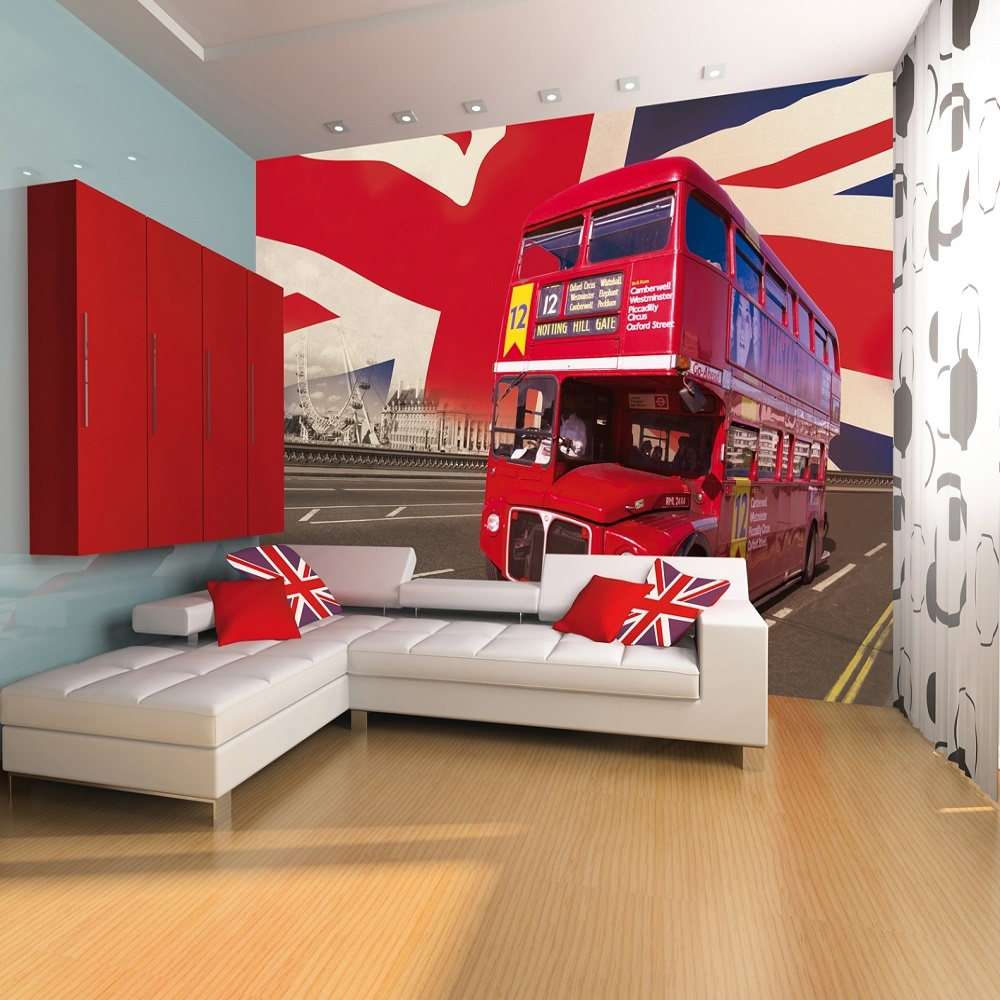 1 wall giant easy hang wallpaper mural london bus union for Art mural wallpaper uk
