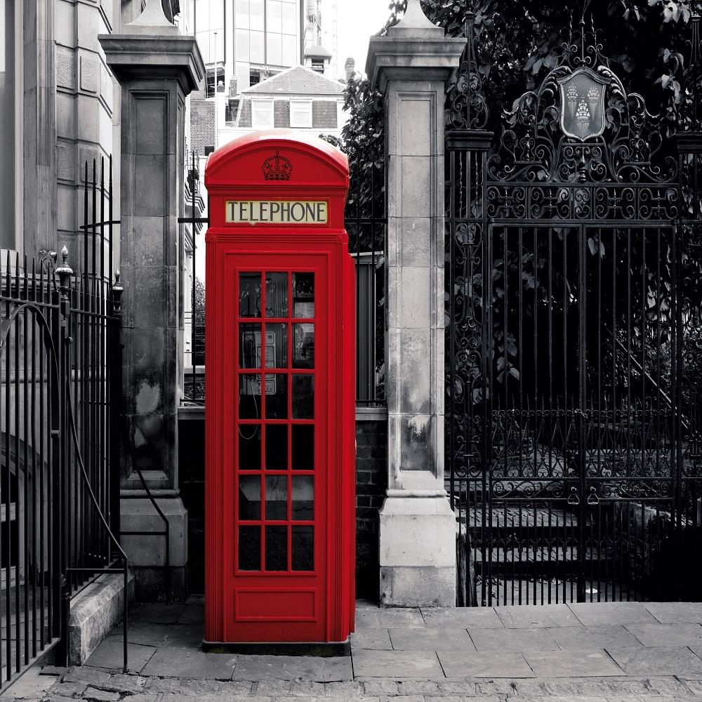 1 wall giant wallpaper mural london telephone phone box 3 for Black and white london mural wallpaper