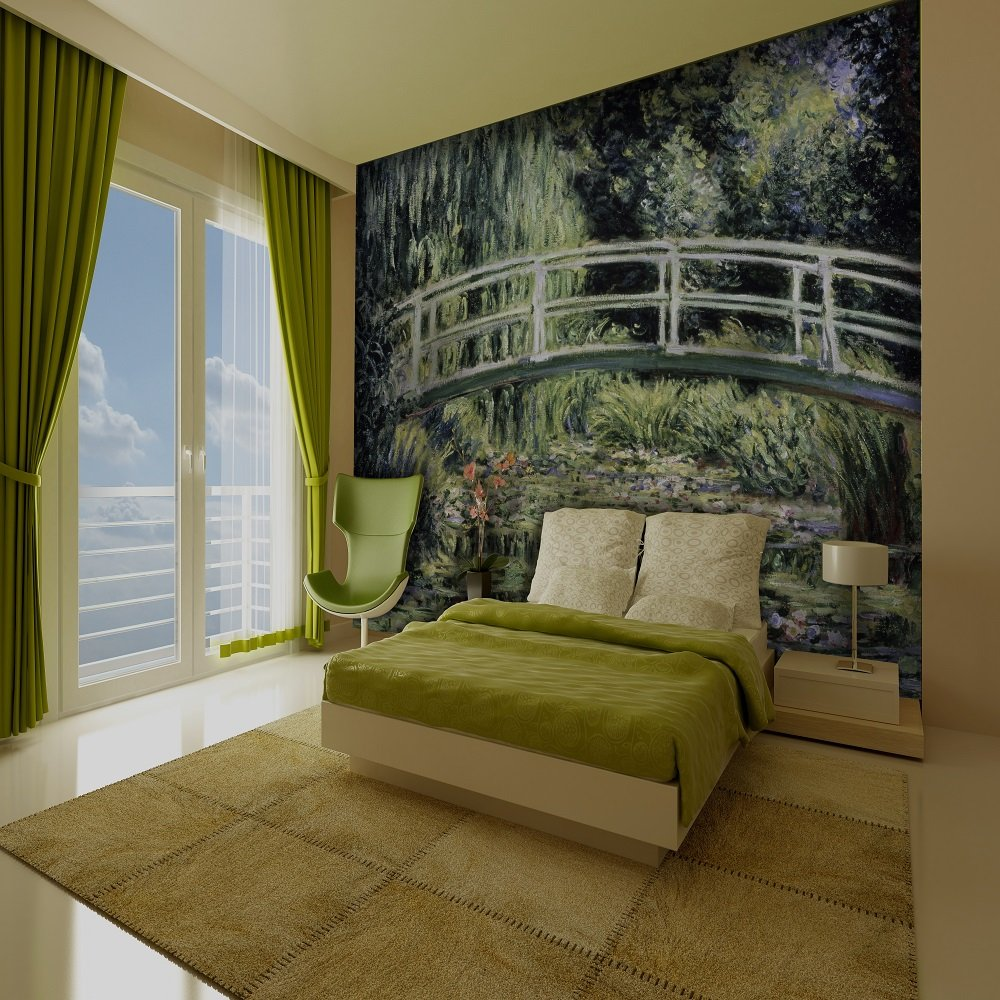 wall murals 1 wall monet japanese footbridge giant wallpaper mural. Black Bedroom Furniture Sets. Home Design Ideas