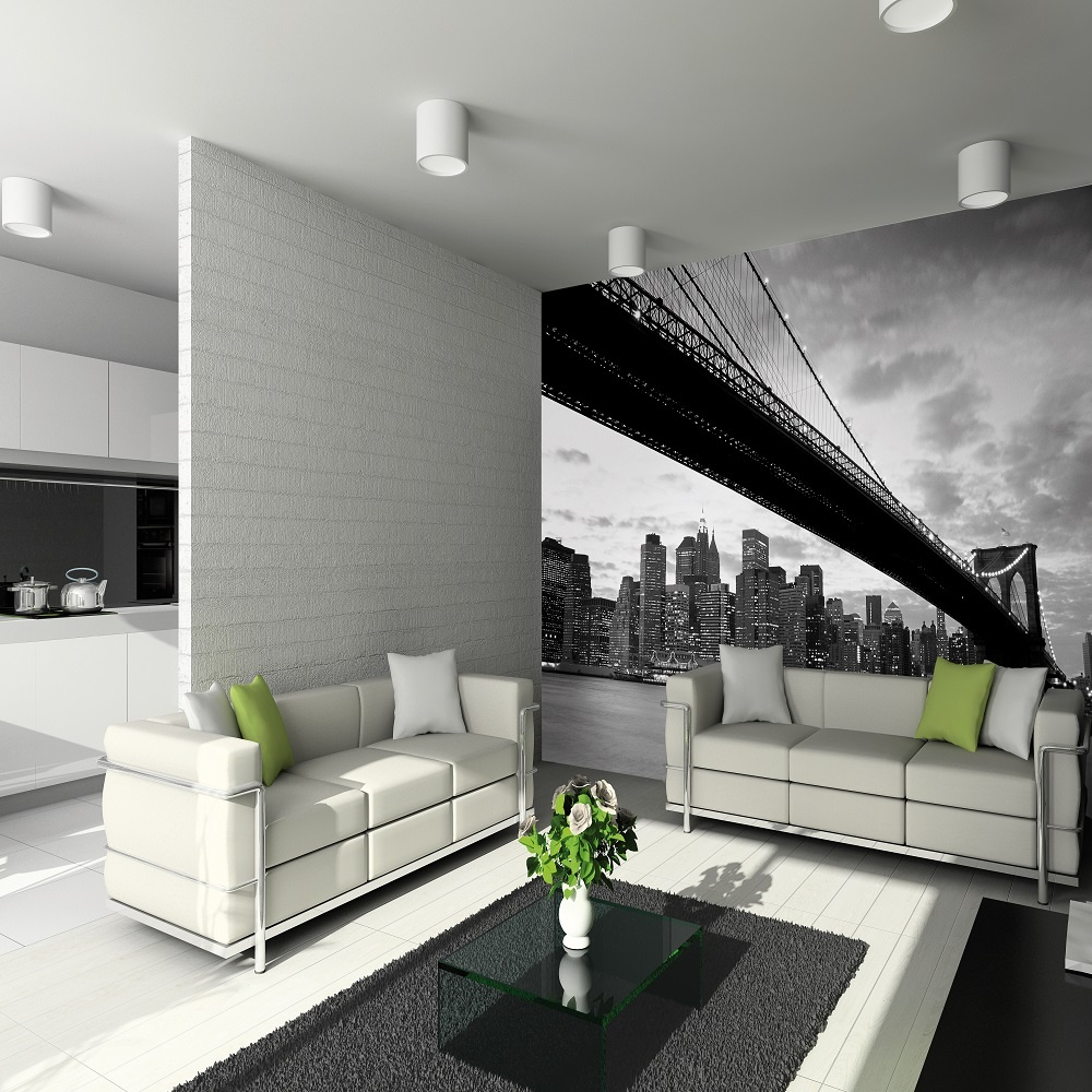 1 wall giant wallpaper mural new york nyc brooklyn bridge3. Black Bedroom Furniture Sets. Home Design Ideas