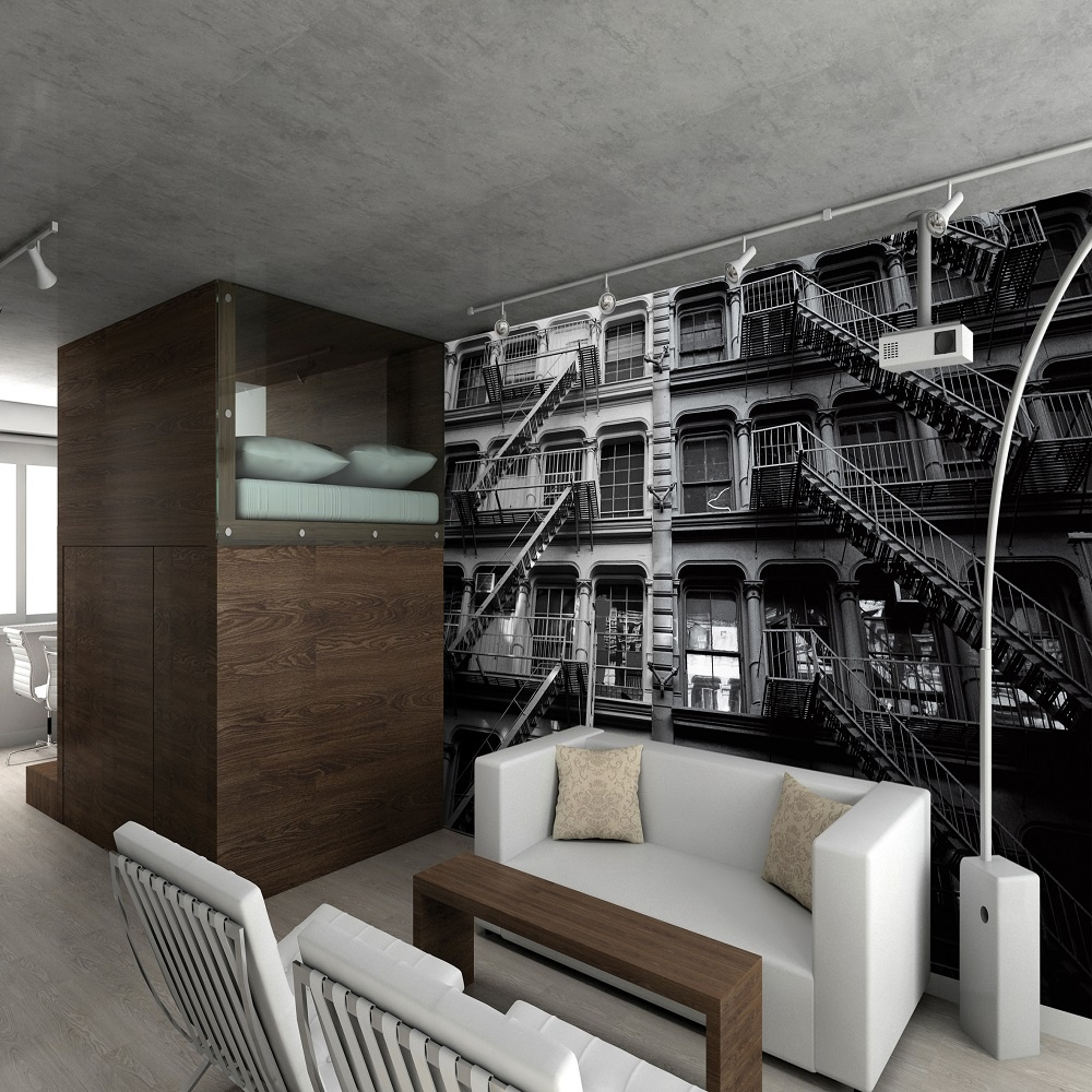 1 wall giant wallpaper mural new york fire escapes x. Black Bedroom Furniture Sets. Home Design Ideas