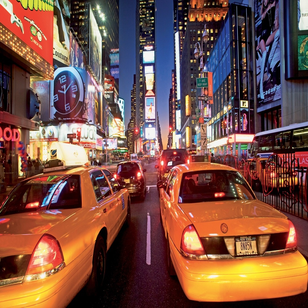 1 wall giant wallpaper mural new york taxi times square 3. Black Bedroom Furniture Sets. Home Design Ideas