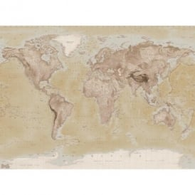 1 Wall Neutral World Map Atlas Wallpaper Mural 1.58m x 2.32m