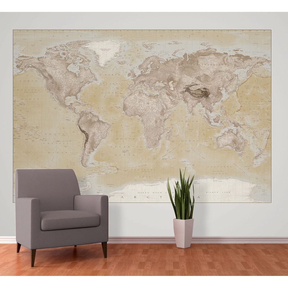 1 wall neutral world map atlas wallpaper mural 158m x 232m w2pl 1 wall neutral world map atlas wallpaper mural 158m x 232m gumiabroncs Gallery