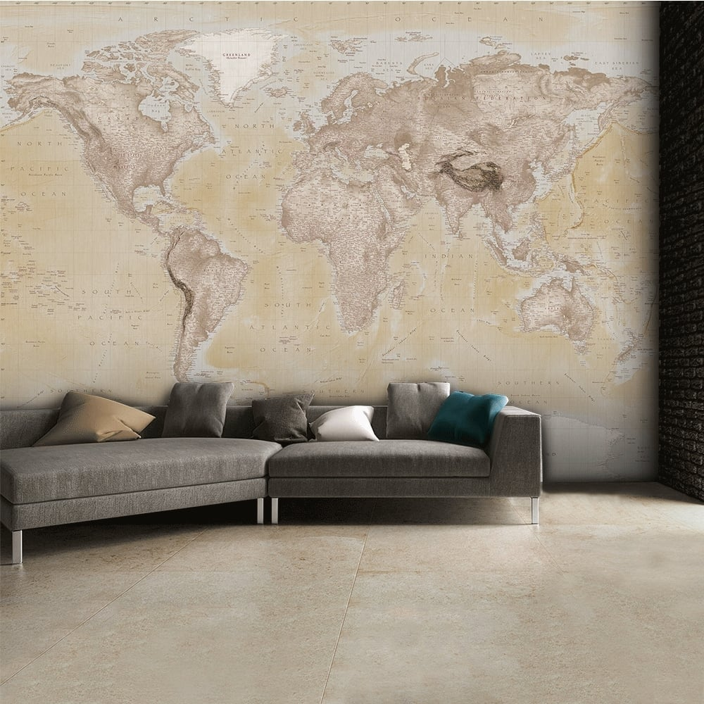 1 wall neutral world map atlas wallpaper mural wall art for Art mural wallpaper