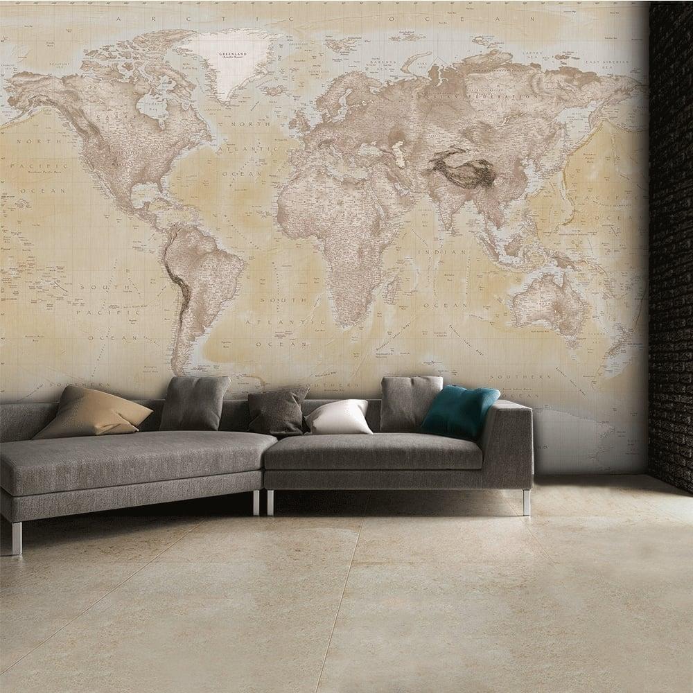 1 Wall Neutral World Map Atlas Wallpaper Mural Art W4PL NEUTRALMAP 001
