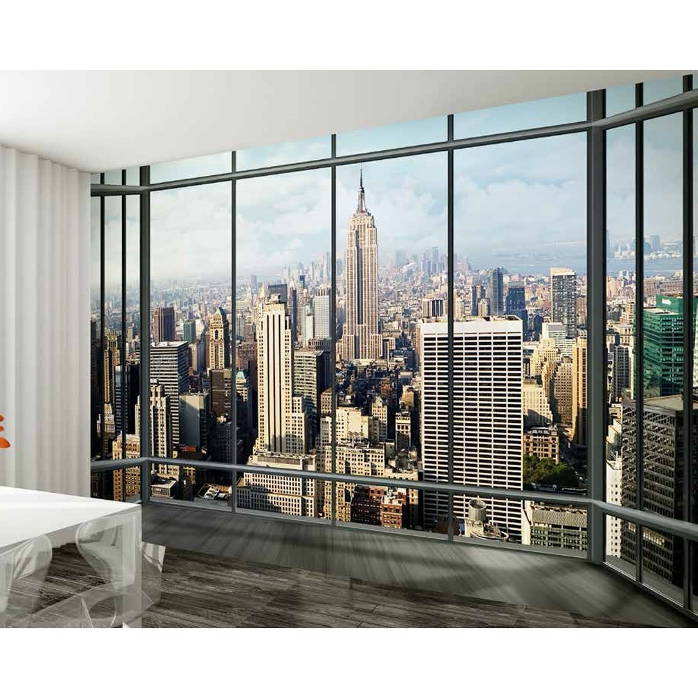 1 wall new york window skyline giant wallpaper mural w8p for Cityscape murals photo wall mural