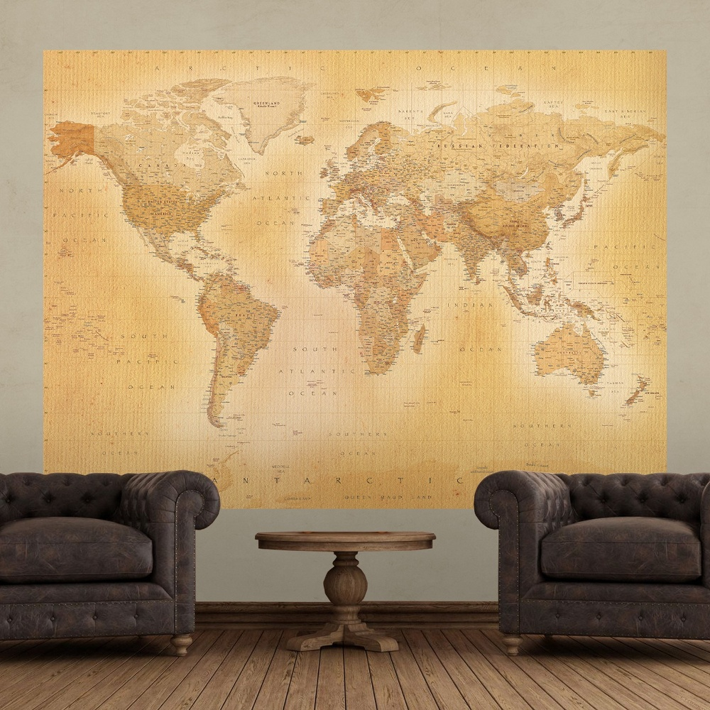 1 wall old world map atlas wallpaper mural x for Antique world map wall mural