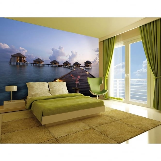 1 Wall Paradise Beach Huts Photo Giant Poster 3.15 x 2.32m