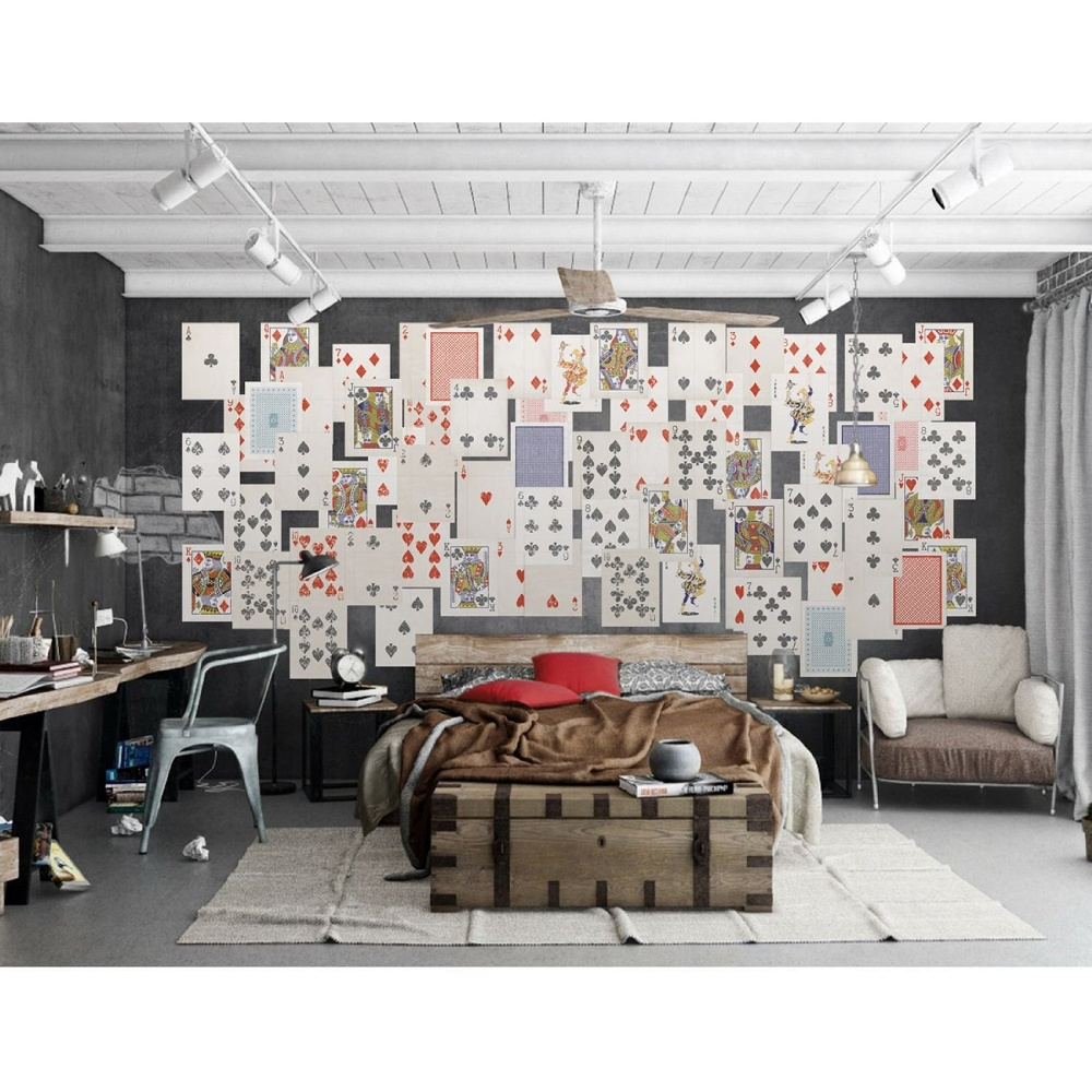 1 wall playing cards poker 64 piece creative collage wall for Collage mural ideas